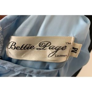 Bettie Page Dresses - Bettie Page Medium Black & Baby Blue Retro Dress